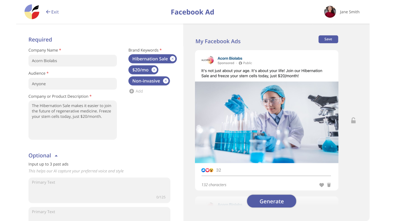 Generate Facebook ads and taglines at the touch of a button